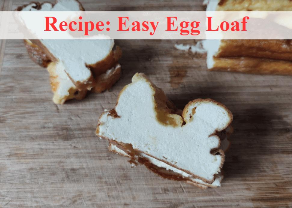 egg loaf slices sitting on a wooden board